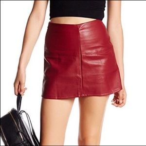 Jolt Red Burgundy Faux Leather Mini Skirt